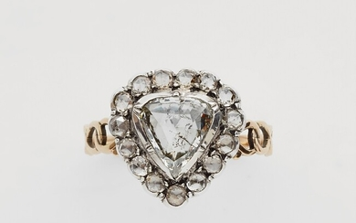 A 14k gold and rose-cut diamond George III heart ring