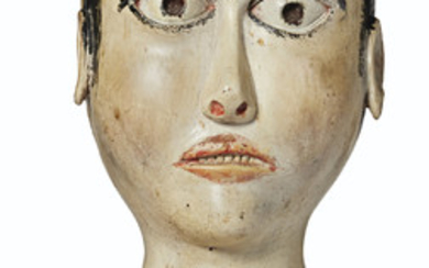 A CARVED WOOD AND POLYCHROME PAINT-DECORATED HEAD OF A WOMAN, AMERICAN, 19TH CENTURY