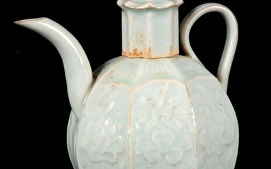 A CHINESE QINGBAI OCTAGONAL SHAPED CELADON GLAZED EARTHENWARE TEAPOT decorated...