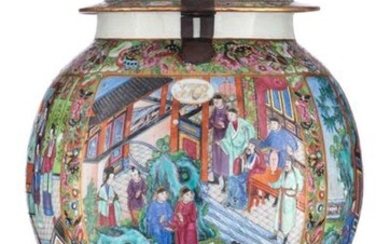 A Chinese Canton famille rose covered vase, all over decorated...