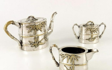 A Chinese silver plated tea set, Qing, circa 1870, cast