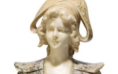 A Continental carved alabaster bust of a...