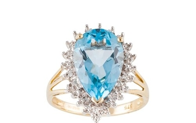 A DIAMOND AND TOPAZ CLUSTER RING, pear shaped, mounted in 9c...