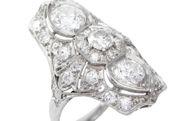 A DIAMOND RING-Of Art Deco style, the fancy pierced plaque set with old European cut diamonds totalling 2.50cts, in platinum, ring s...