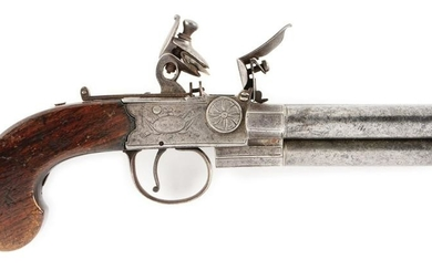 (A) ENGLISH TAP ACTION FLINTLOCK PISTOL.