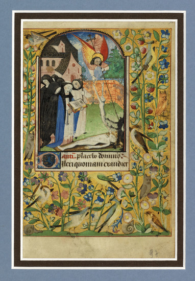 A FUNERAL SERVICE, WITH ST MICHAEL BATTLING THE DEVIL FOR A SOUL, miniature on a leaf from a Book of Hours, with 5 text leaves from the same manuscript, in Latin, illuminated manuscript on vellum [France, perhaps Châlons, c.1480].,