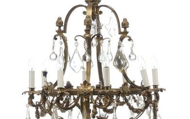 A French gilt bronze cage shaped eight-light chandelier hung with prisms, mounted for electricity. Late 19th century. H. 90 cm. Diam. 65 cm.