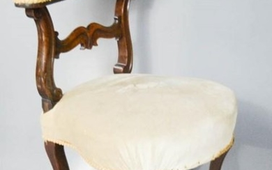 A French walnut side chair, with cream upholstered top rail ...