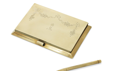 A GEORGE V 9 CARAT GOLD NOTEBOOK HOLDER AND PEN IN FITTED CASE, MARK OF JOHN COLLARD VICKERY, LONDON, 1928