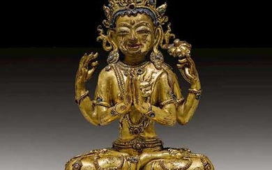 A GILT COPPER ALLOY FIGURE OF SHADAKSHARI.
