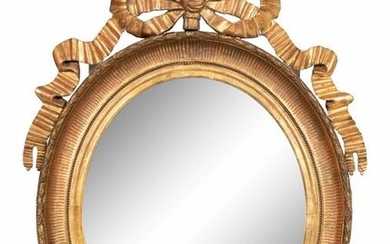 A Louis XVI Style Giltwood Mirror Height 40 1/2 x width