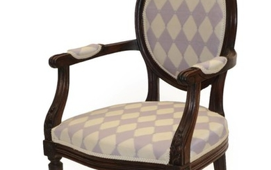 A Louis XVI Walnut Fauteuil, late 19th century, recovered in...