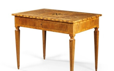 A NORTH ITALIAN WALNUT, TULIPWOOD, EBONY AND FRUITWOOD PARQUETRY WRITING-TABLE, EARLY 19TH CENTURY