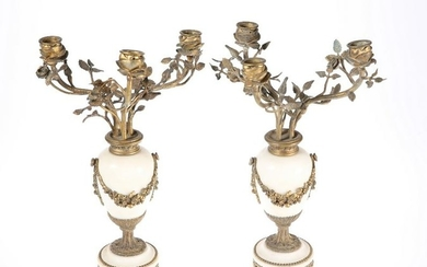 A PAIR OF 19TH CENTURY FRENCH GILT-BRONZE AND MARBLE