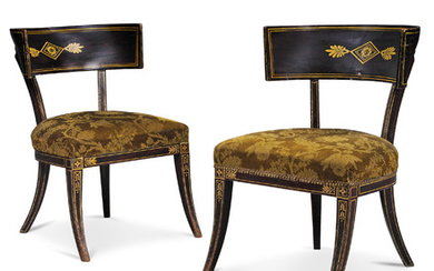 A PAIR OF REGENCY CREAM-PAINTED AND SIMULATED-ROSEWOOD KLISMOS CHAIRS, CIRCA 1810