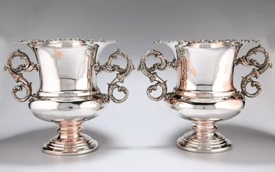 A PAIR OF SILVER-PLATED WINE COOLERS, each stamped