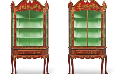 A PAIR OF SILVERED, GILT AND RED JAPANNED DISPLAY CABINETS, LATE 20TH CENTURY