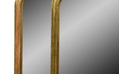 A PAIR OF VICTORIAN GILT FRAMED OVERMANTLE MIRRORS,