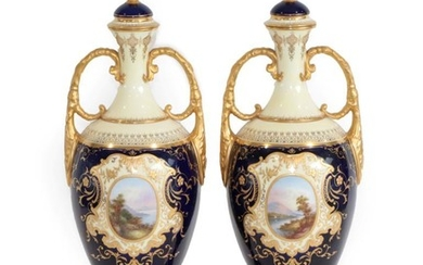 A Pair of Coalport Porcelain Vases, early 20th century, of...