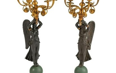 A Pair of Empire Parcel-Gilt and Patinated Bronze