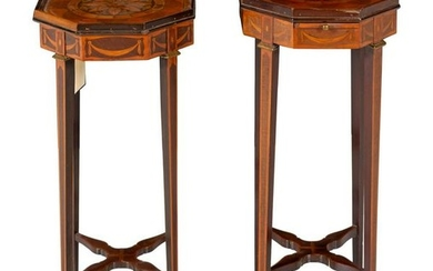 A Pair of Georgian Style Marquetry Side Tables