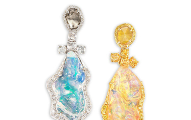 A Pair of Jelly Opal and Coloured Diamond Ear Pendants