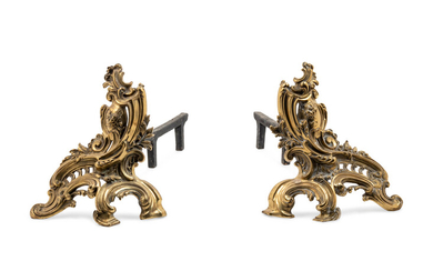A Pair of Louis XV Style Gilt Metal Chenets