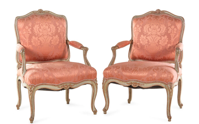 A Pair of Louis XV Style Painted Fauteuils