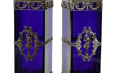 A Pair of Neoclassical Style Silverplate Mounted Cobalt