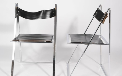 A Pair of Vono Lubke Folding Chairs, circa 1970, chromed...