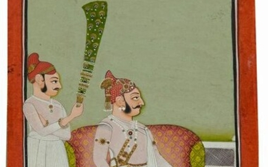 A RAJASTHAN MINIATURE DEPICTING A RAJA WITH HIS