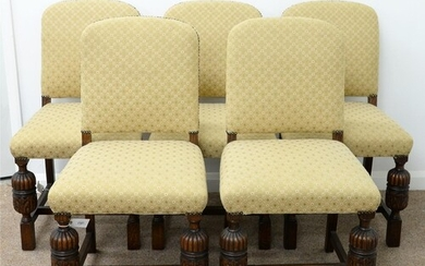 A SET OF FIVE OAK DINING CHAIRS, C1930 THE CLOSE NAILED PADD...