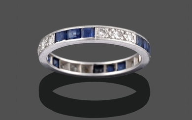 A Sapphire and Diamond Eternity Ring, trios of square step...