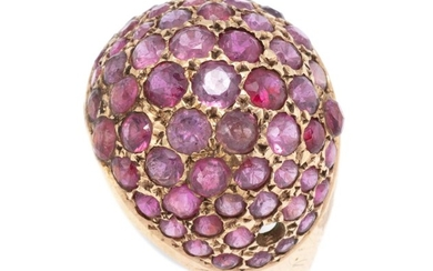 A VINTAGE 18CT GOLD RUBY RING; dome top set with round cut rubies (1 missing), size P 1/2, wt. 5.56g.