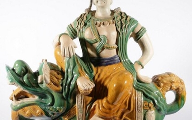 A Very Large Ceramic Tang Sancai Style Figure Of Guanyin On Temple Dog (H:91 W:70 D:26cm)