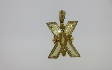 A Victorian St Andrew's cross pendant set with