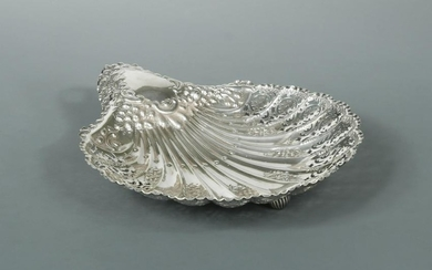 A Victorian silver large shell dish,