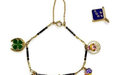 A Yellow Gold and Enamel Charm Bracelet,