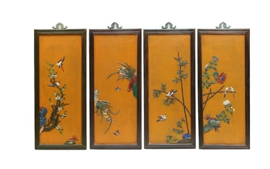 A ZITAN WOOD SCREEN CARVED WITH FLOWERS
