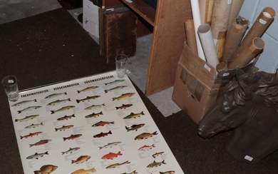 A collection of reproduction maps and posters including fishing, miscellaneous...