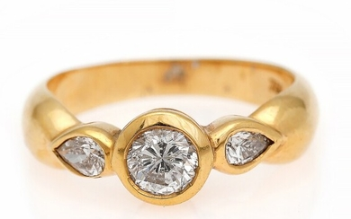 NOT SOLD. A diamond ring set with a brilliant-cut weighing app. 0.60 ct. flanked by...