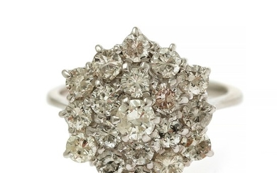 A diamond ring set with numerous brilliant-cut diamonds, totalling app. 2.13 ct., mounted in 18k white gold. Size 54. London, 1976.
