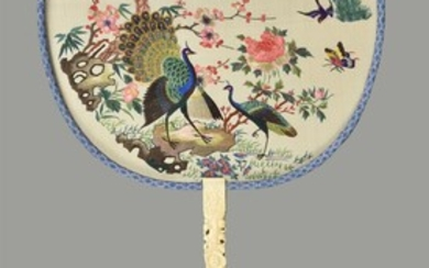 Y A fine Chinese double sided embroidered fan from the Suzhou embroidery region