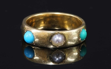 A gold shallow 'D' section band ring