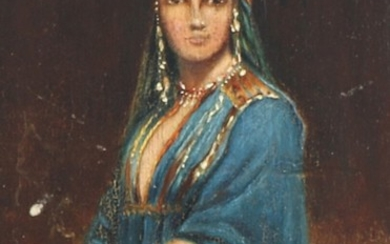 A harem woman. Unsigned. Oil on panel. 13×9 cm.