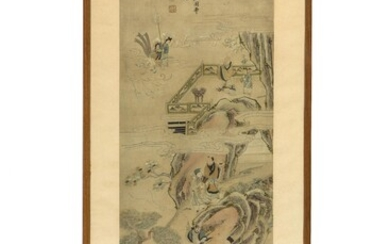 A large Chinese silk embroidered painting