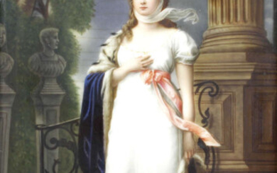 A late 19th century painted porcelain panel.