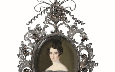 A miniature portrait of a young woman, 1800s