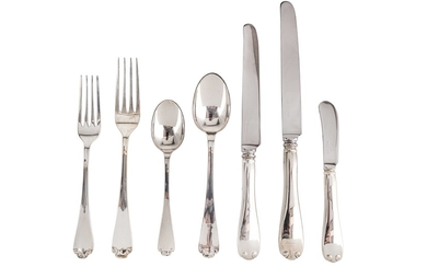 A modern American sterling silver table service of flatware for three, by Tiffany