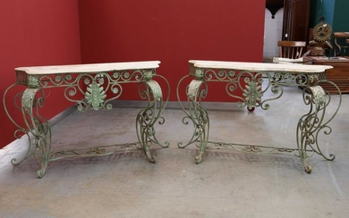 A pair of Baroque style iron console tables